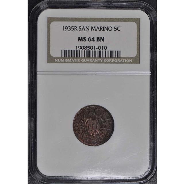 1935 R San Marino 5 Cent NGC MS65 BN