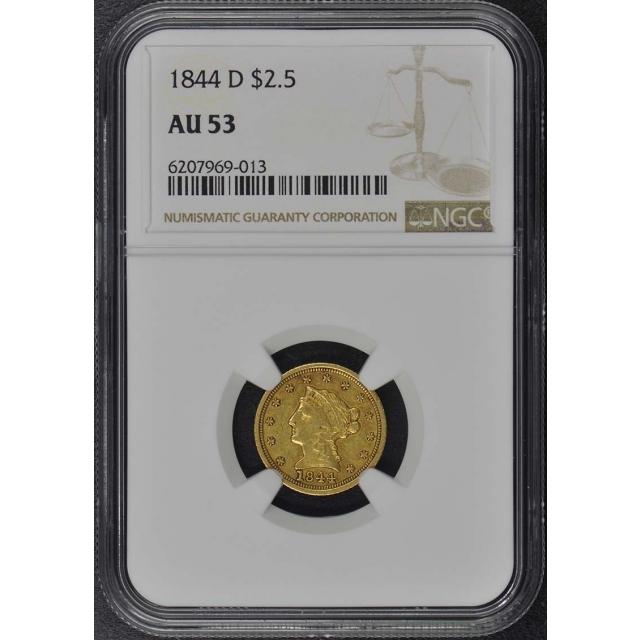 1844-D Quarter Eagle $2.50 NGC AU53