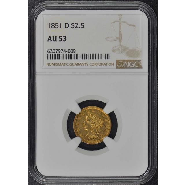 1851-D Quarter Eagle $2.50 NGC AU53