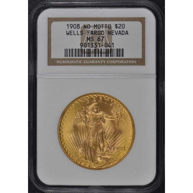 1908 NO MOTTO Saint-Gaudens WELLS FARGO NEVADA $20 NGC MS67