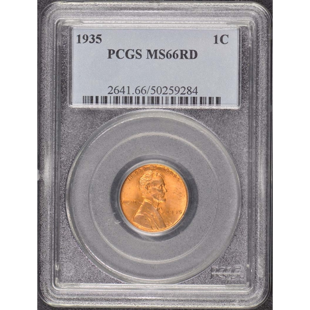 1935 1C Lincoln Cent - Type 1 Wheat Reverse PCGS MS66RD