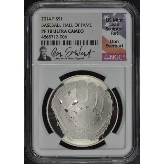 2014 P Modern Commemorative BASEBALL HALL OF FAME S$1 NGC PR70DCAM Don Everhart