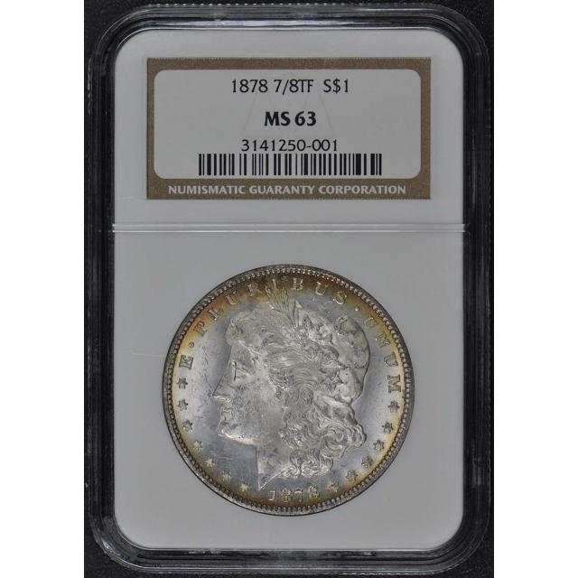 1878 7/8TF STRONG Morgan Dollar S$1 NGC MS63