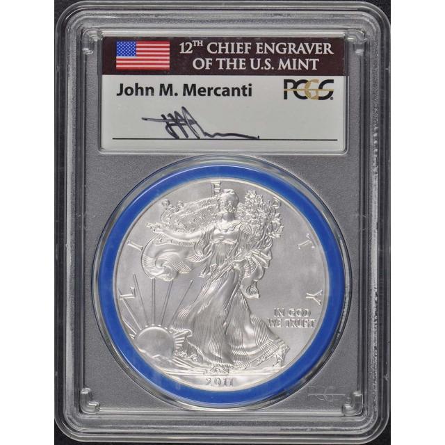 2011-W $1 Silver Eagle PCGS MS70 Mercanti Engraver Series Pop 99