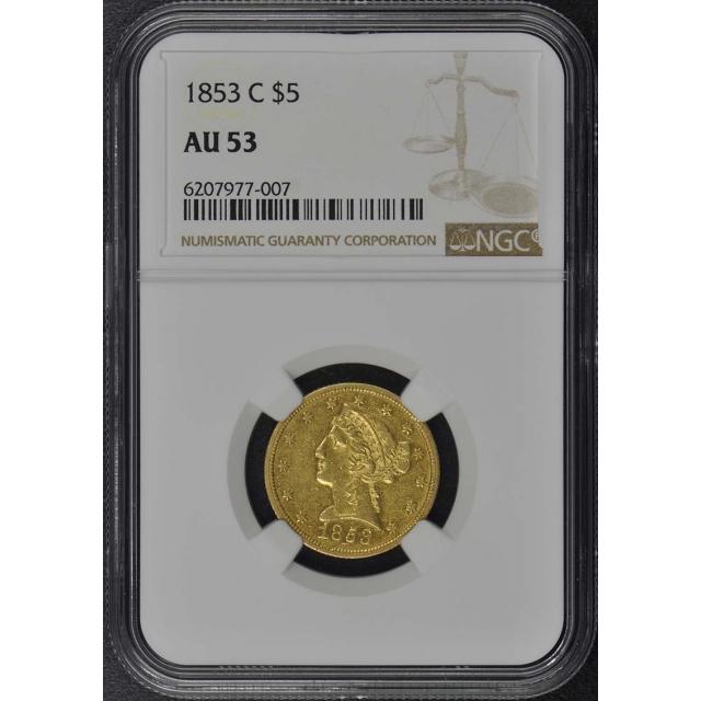 1853-C Half Eagle - No Motto $5 NGC AU53