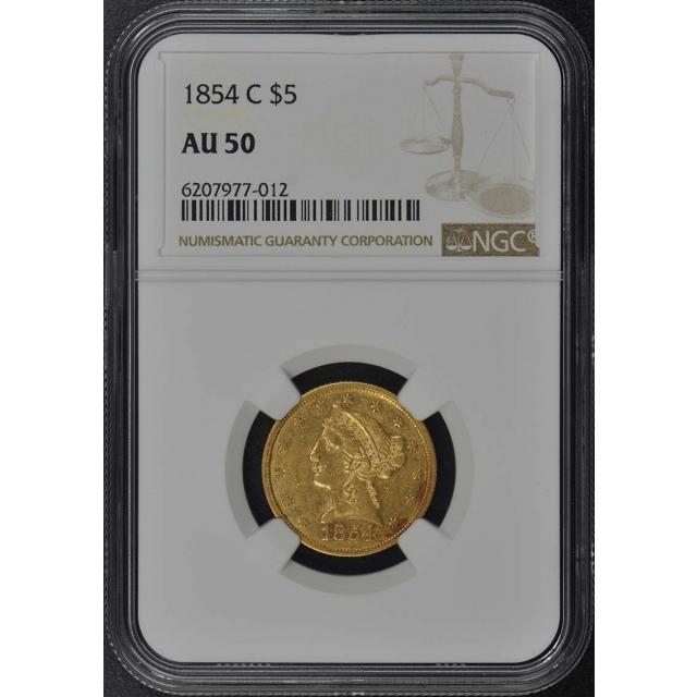 1854-C Half Eagle - No Motto $5 NGC AU50