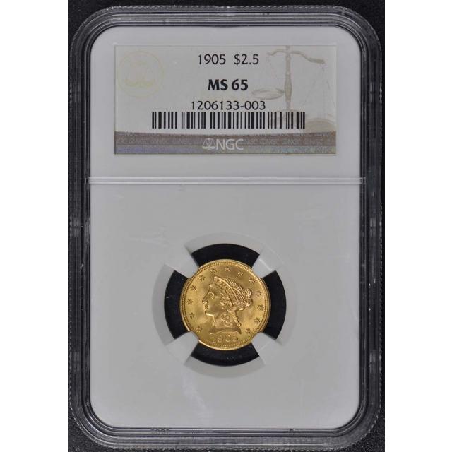 1905 Quarter Eagle $2.50 NGC MS65