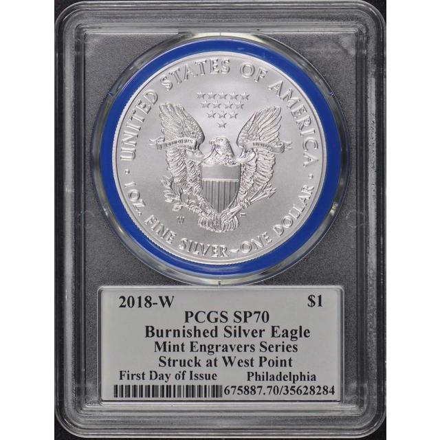 2018-W $1 Silver Eagle PCGS SP70 Mercanti Engraver FDI Phil. Pop 50