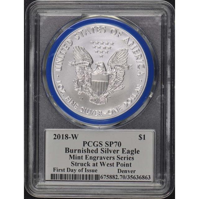 2018-W $1 Silver Eagle PCGS SP70 Mercanti Engraver FDI Denver Pop 50