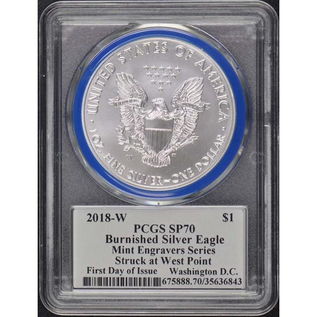 2018-W $1 Silver Eagle PCGS SP70 Mercanti Engraver FDI Wash. DC Pop 50