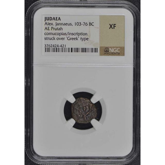 Alex. Jannaeus, 103-76 BC JUDAEA AE Prutah NGC XF40
