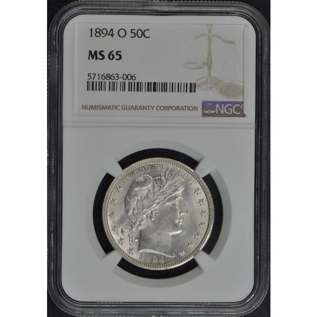 1894-O Barber Half Dollar 50C NGC MS65