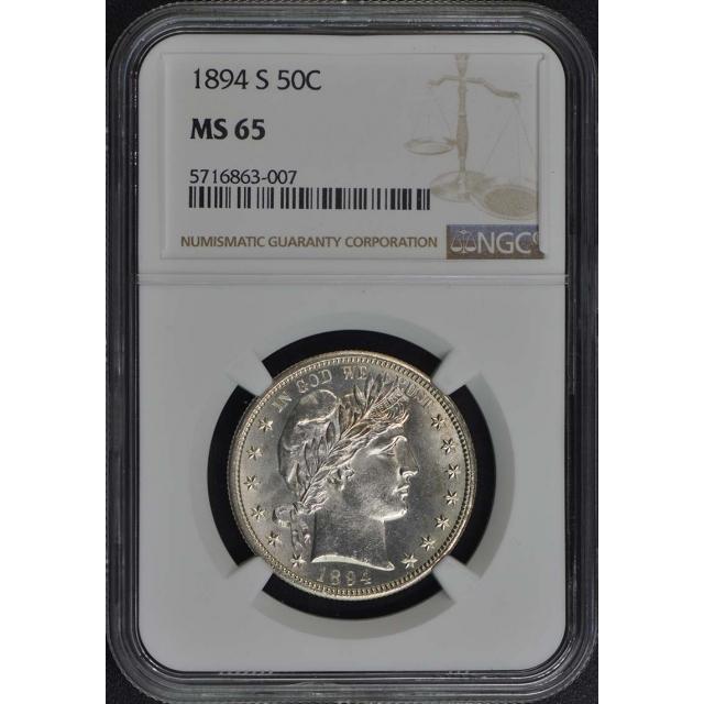 1894-S Barber Half Dollar 50C NGC MS65