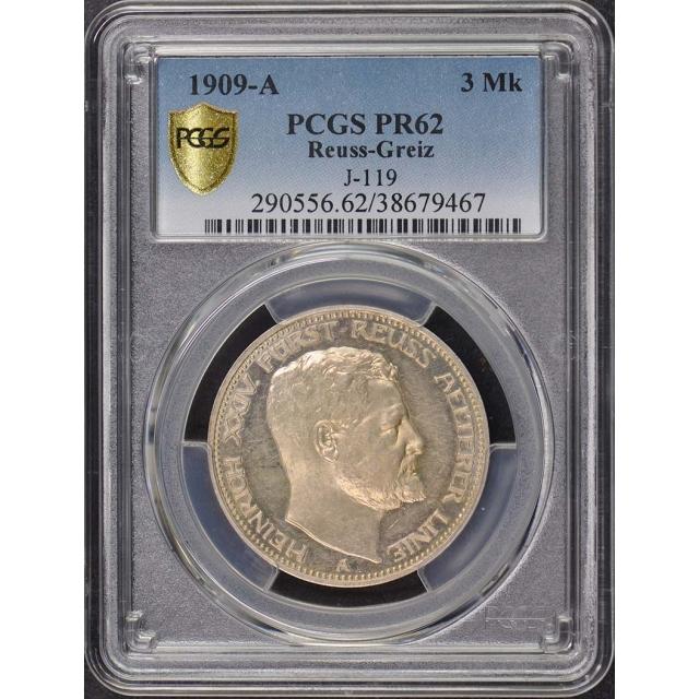 1909 A 3 Mk Reuss-Greiz German States PCGS PR62 Proof