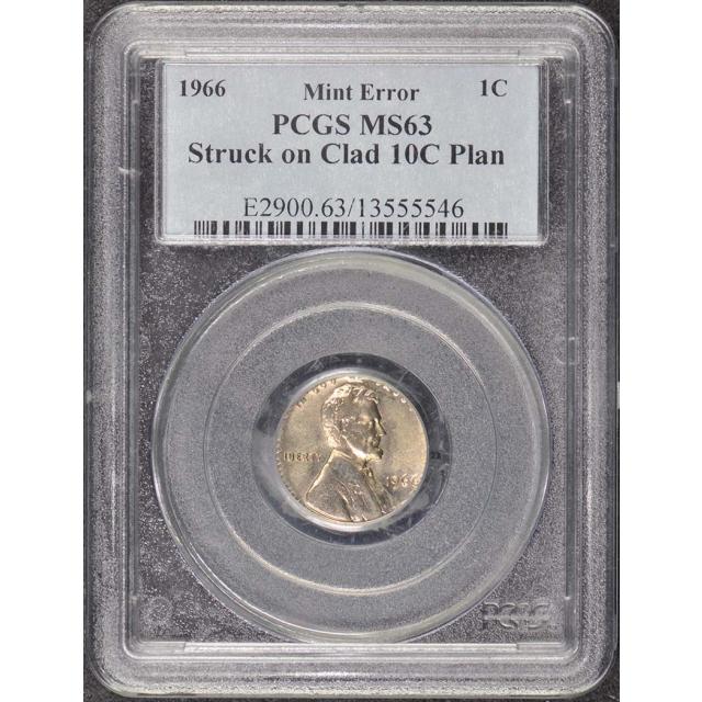1966 1C Lincoln Cent Error Struck on Clad 10C Planchet PCGS MS63