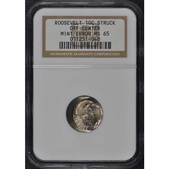 Roosevelt Dime 10C Struck Off Center Mint Error NGC MS65