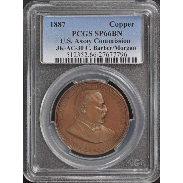 1887 Copper U.S. Assay Commission, JK-AC-30 PCGS MS66BN