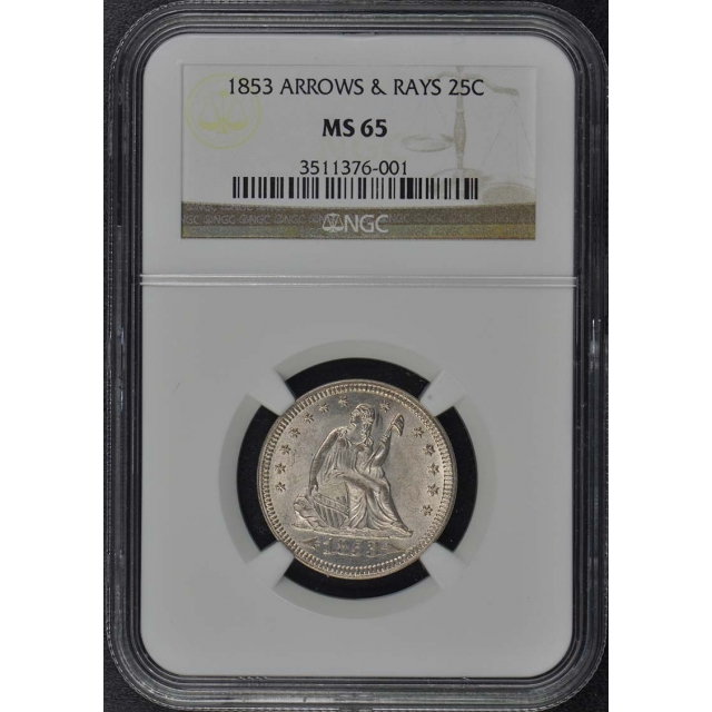 1853 Arrows & Rays Seated Liberty Quarter 25C NGC MS65