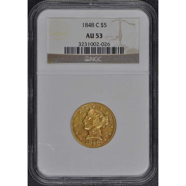 1848-C Half Eagle - No Motto $5 NGC AU53