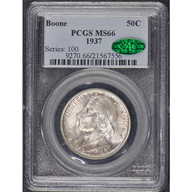 BOONE 1937 50C Silver Commemorative PCGS MS66 (CAC)
