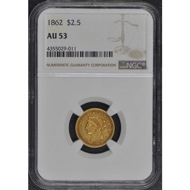 1862 Quarter Eagle $2.50 NGC AU53