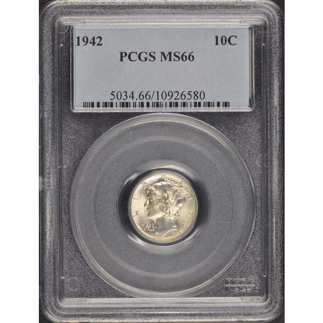1942 10C Mercury Dime PCGS MS66