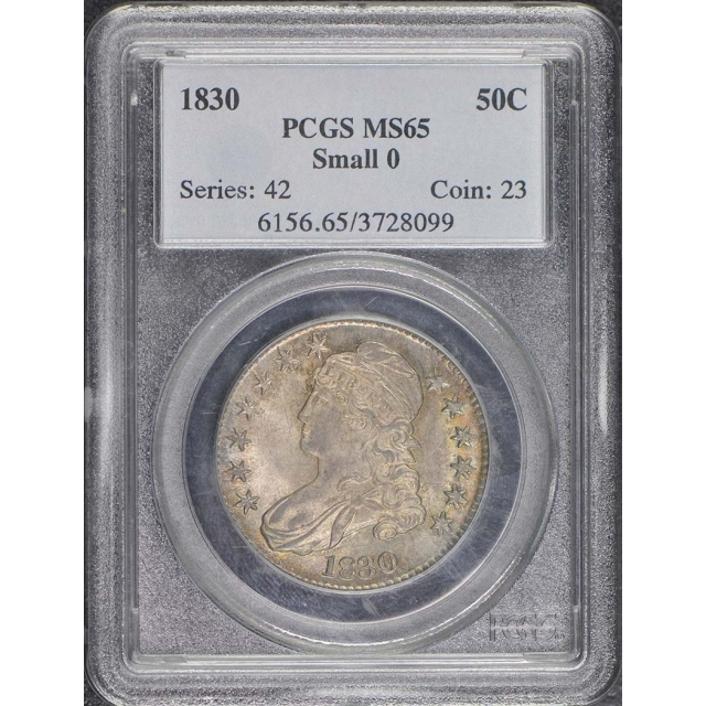 1830 50C Small 0 Capped Bust Half Dollar PCGS MS65