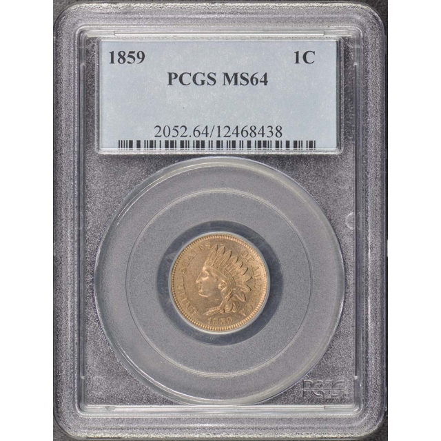 1859 1C Indian Cent - Type 1 No Shield PCGS MS64