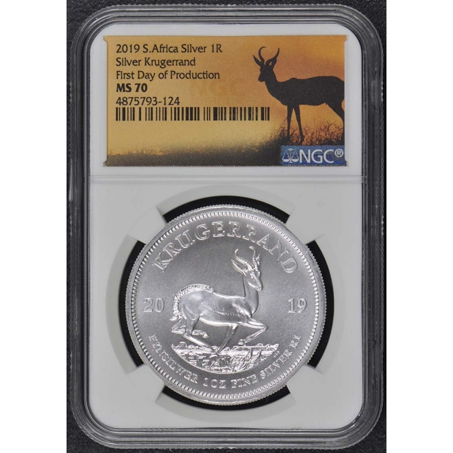 2019 Silver Krugerrand 1R NGC MS70 First Day of Production