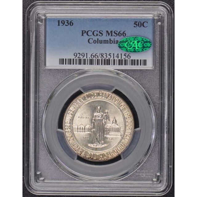 COLUMBIA 1936 50C Silver Commemorative PCGS MS66 (CAC)