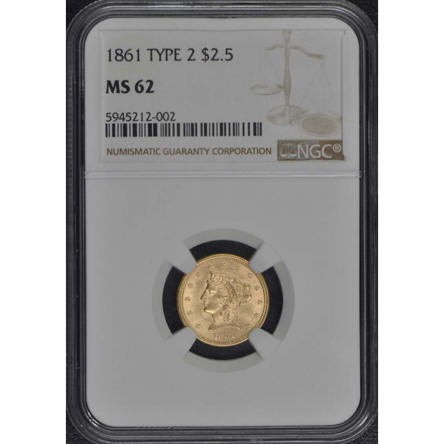 1861 TYPE 2 Quarter Eagle $2.50 NGC MS62