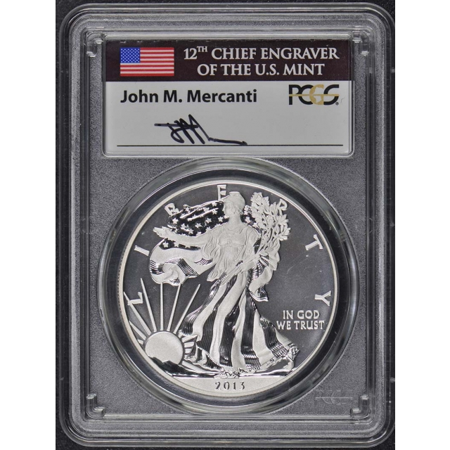 2013 W 2-Coin Set $1 Silver American Eagle PCGS SP70 & PR70 Mercanti Labels
