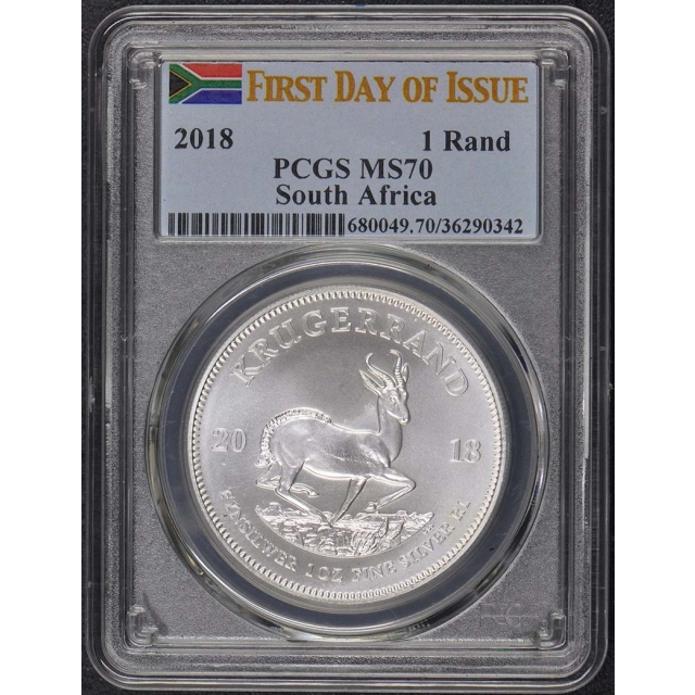 2018 Krugerrand PCGS MS-70 First Day of Issue Flag Label Silver Bullion Coin
