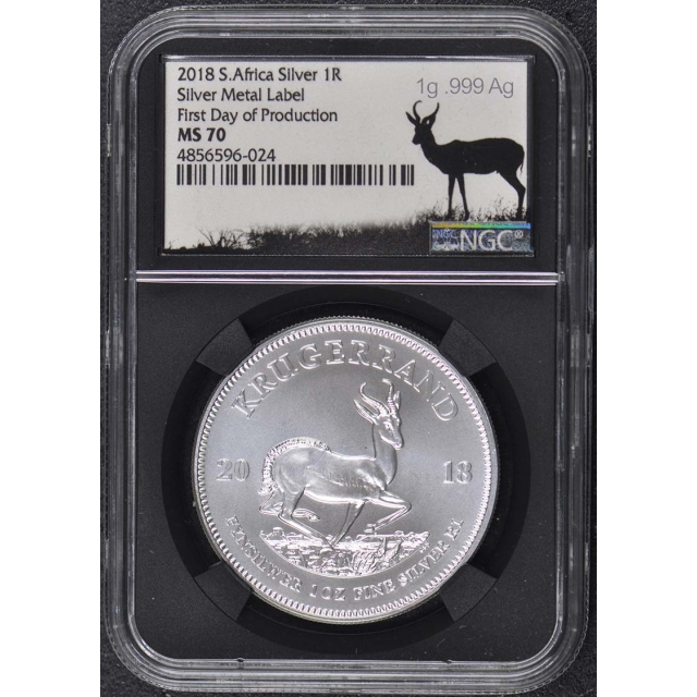 2018 Silver Krugerrand 1R NGC MS70 First Day Metal Label