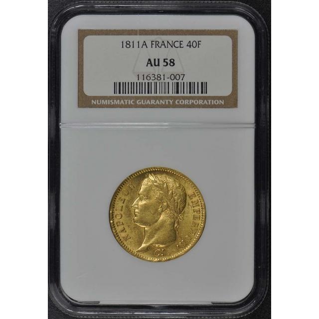 1811A FRANCE G40F Napoleon Gold Forty Franc NGC AU58