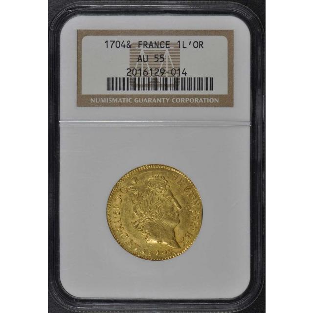 1704-& France Gold Louis d'Or Louis XIV NGC AU55