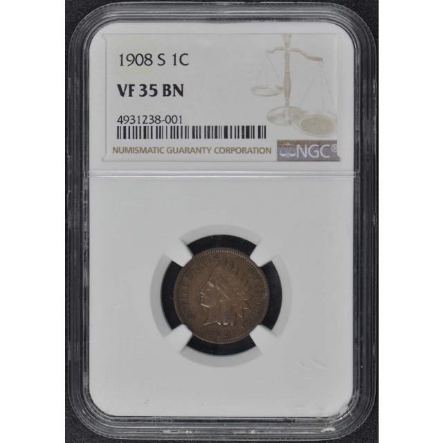 1908-S Bronze Indian Cent 1C NGC VF35BN