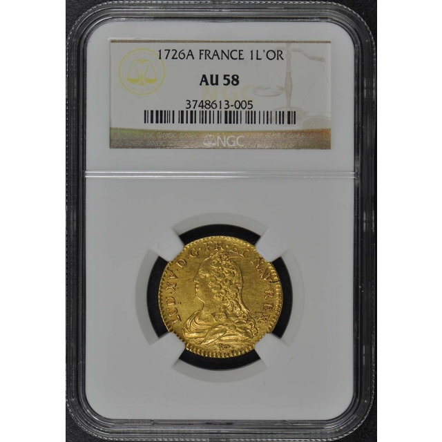 1726A FRANCE 1L'OR Gold Louis XV d'Or NGC AU58