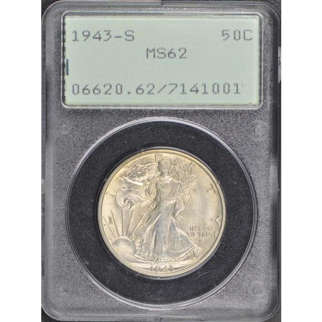 1943-S Walking Liberty Half Dollar PCGS MS62 Rattler
