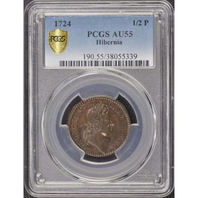 1724 1/2 P Colonials Wood's Hibernia Coins PCGS AU55BN