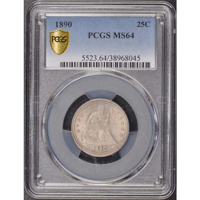 1890 25C Liberty Seated Quarter PCGS MS64