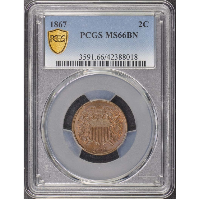 1867 2C Two Cent Piece PCGS MS66BN