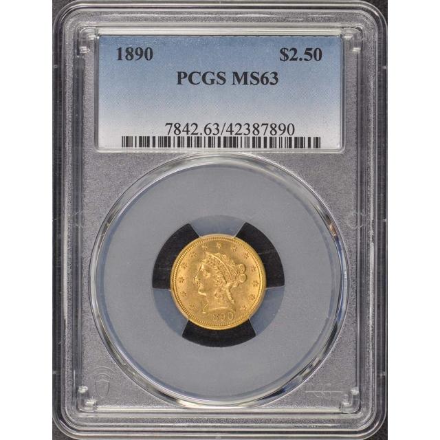 1890 $2.50 Liberty Head Quarter Eagle PCGS MS63