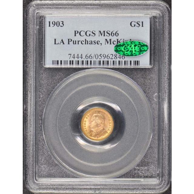 LA PURCHASE, MCKINLEY 1903 G$1 Gold Commemorative PCGS MS66 (CAC)