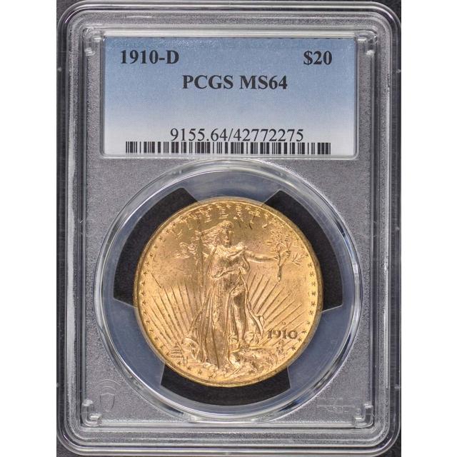 1910-D $20 Saint Gaudens PCGS MS64