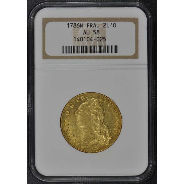 1786N FRANCE 2L'OR Gold Louis XVI NGC AU58