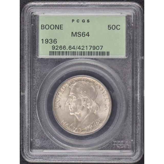 BOONE 1936 50C Silver Commemorative PCGS MS64