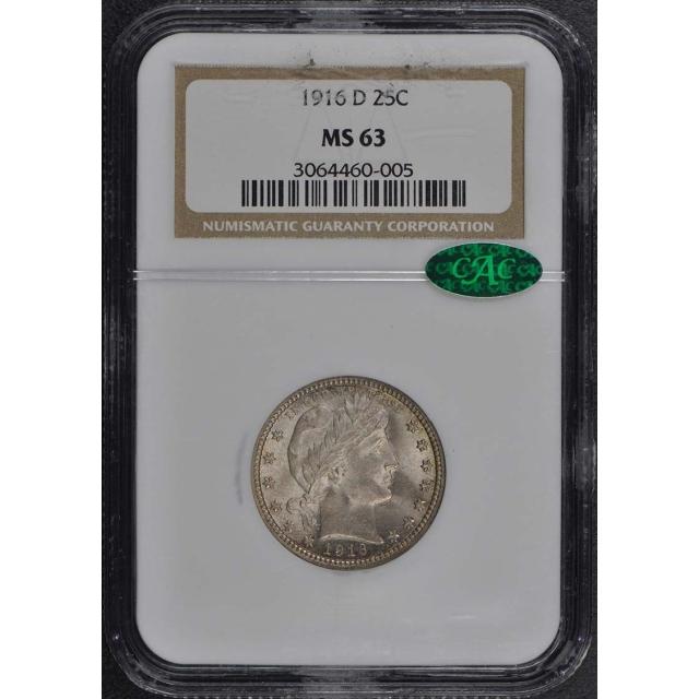 1916-D Barber Quarter 25C NGC MS63 (CAC)