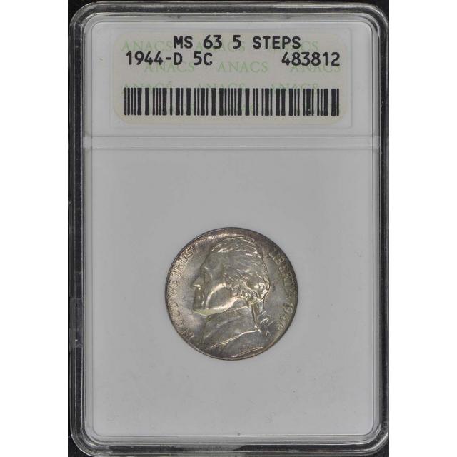 1944-D 5C Jefferson Nickel ANACS MS63