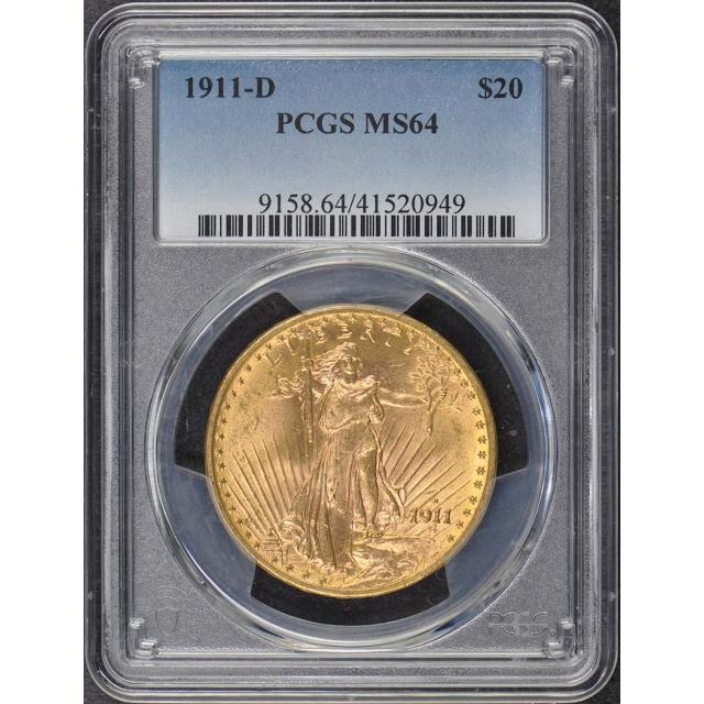 1911-D $20 Saint Gaudens PCGS MS64